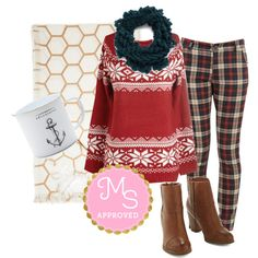 """The More You Snowflake Sweater in Red"" by modcloth on Polyvore"