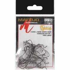 Matzuo Sickle X-Tra Wide Gap Worm Hook, Black Chrome, 25-Pack, Multicolor