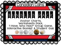 "This Canadian Coins Unit contains:   6 Canadian Coin Posters/Anchor Charts  ✔ 6 Canadian Coin Practice Worksheets   ✔ Canadian Coins Interactive Mini Booklet   ✔ ""I Have, Who Has? Canadian Coins Group Card Game   ✔ Four-Page Canadian Coins Quiz ✔"