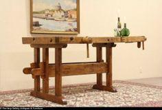 Country Woodworker or Carpenter Workbench Kitchen Island   eBay