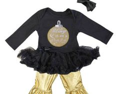 Baby Girls Black Gold Bling It One Santa Tutu Pants Outfit Set With Headband Long Sleeve- Newborn To 18 Months - Christmas Outfit