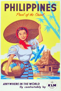 Vintage Travel Poster / Philippines - Pearl of the Orient / ANYWHERE IN THE WORLD - fly comfortably by KLM