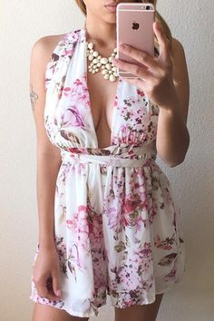 Cupshe Call Out Floral Plunging Romper