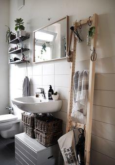 Ideas Bathroom Storage Ideas Diy Ikea Hacks For 2019 Diy Bathroom, Bathroom Hacks, Small Bathroom Storage, Simple Bathroom, Bathroom Vanities, Bathroom Ideas, Bathroom Ladder, Serene Bathroom, Small Storage