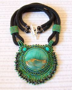 Statement Beadwork Bead Embroidery Pendant Necklace with by lutita, $125.00