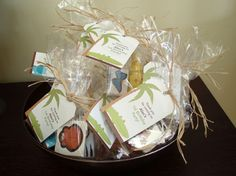 Jungle safari party favors with raffia and favor tag