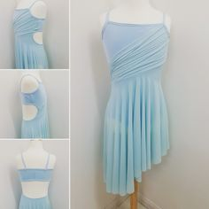 Pale blue lyrical dance costume with cut out sides. Designed and made by Figgety Jig Dancewear.