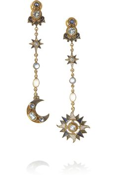 PERCOSSI PAPI Gold-plated, topaz, moonstone and sapphire earrings $1,060