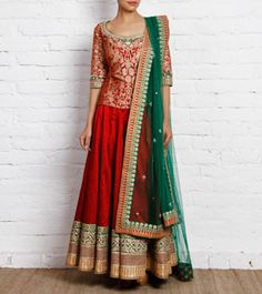 Red and Green Raw Silk and Brocade Lehenga Set
