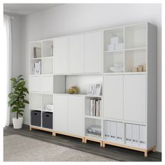EKET Storage combination with legs - white/light gray/dark gray - IKEA Home Living Room, Living Room Furniture, Living Room Designs, Home Furniture, Furniture Stores, Luxury Furniture, Ikea Eket, Ikea Inspiration, Muebles Living