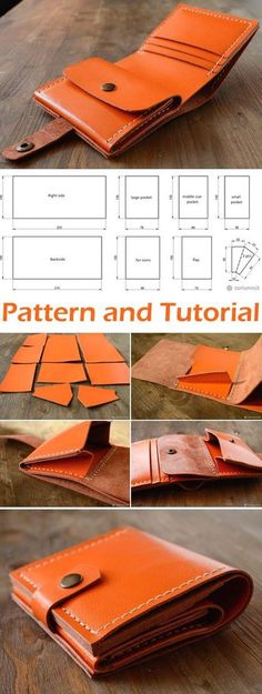 Genuine Leather Wallet Tutorial Patron Portefeuille cuir - My Diy Bagand Purse Bog Wallet Sewing Pattern, Leather Wallet Pattern, Pouch Pattern, Handbag Patterns, Bag Patterns To Sew, Sewing Patterns Free, Free Pattern, Sewing For Beginners Tutorials, Free Tutorials