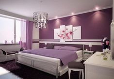 feng shui bedroom design purple bedroom white furniture wall paintings