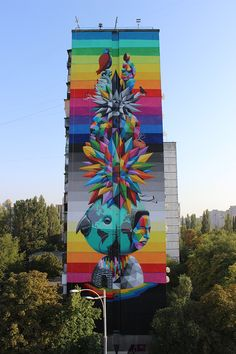 The World-Love is Ours #mural by Okuda #artist, Kiev Ucraine 2015