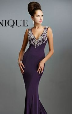 Beaded V Neck Gown by Janique 13921