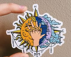 SUN & MOON Sticker is part of Sun tattoos - Sun & Moon 3 x 3 glossy coated vinyl sticker Scratch and weather resistant Watercolor Tatto, Tattoo Drawings, Art Drawings, Sun Drawing, Drawing Tips, Tattoo Sonne, Geometric Tatto, Sun Tattoos, Moon Sun Tattoo