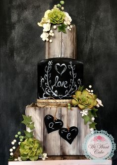 Rustic wood effect blackboard wedding cake