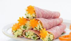 Ham rolls with cheese and garlic