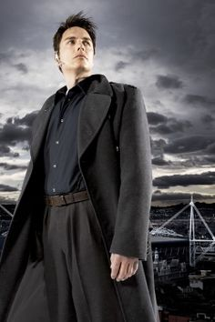 Captain Jack Harkness-Requested by Six - Black shirt and cravat-white stone, charcoal vest & trousers, charcoal mens coat, Top hat