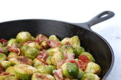 Oven Roasted Brussels Sprouts with Bacon and lemon juice