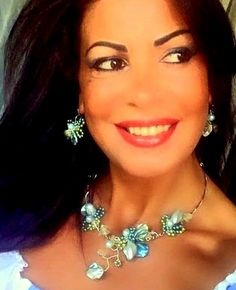 """Elegant jewelry SET Necklace and Earrings, """"TURQUOISE FANTASY"""" unique handmade…"""