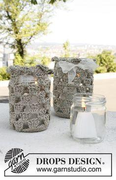 """Free pattern: Crochet DROPS lantern in """"Bomull-Lin""""."""