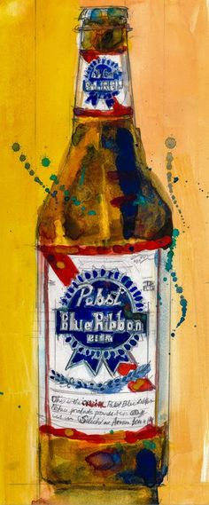 Pabst Blue Ribbon Beer Bottle  Print Size  8.5 x. 11 by dfrdesign, $24.00