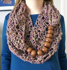 Combine large beads with knit or crochet infinity scarf.