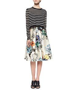 Mix and max patterns! Florals plus stripes. I want to incorporate more pattern matching into my wardrobe.  Tibi Nautical-Stripe Cropped Pullover Sweater & Gazaar Printed Pleated Satin Skirt