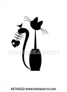 Abstract Cat Art | abstract cat and fish silluete k6740222 foto search clip art ...