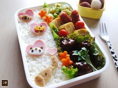 Koala, giraffe, bear, and elephant bento.