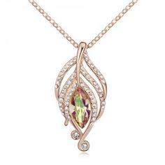 The Leaf Elves Design Austrian Crystal Necklace - Golden Shadow