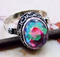 Amazing Rare~ Rainbow Mystic topaz ring size 8 in 925 Sterling silver art nouveau setting.