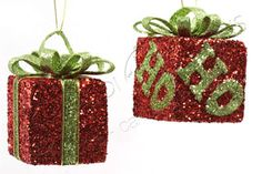 ADDOBBI E PALLINE NATALIZIE, Pacchettino regalo glitterato rosso e verde, NATALE - Christmas Store