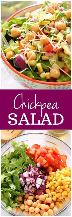 Chickpea Salad with Garlic Parmesan Vinaigrette Recipe - light and fresh salad with chickpeas. Quick and easy lunch or a side to a light meal.
