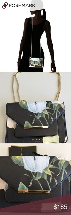 """Ted baker cross body clutch An easy and perfect day-to-night transition, this feminine clutch has just enough edge to satisfy your city girl style.   * Ted Baker crossbody bag * Front magnetic flap. * Signature Ted Baker logo bar.  * Front Ted Baker logo.  * Front concealed slot pocket.  * Front concealed cell phone pocket.  * Top zip closure.  * Interior: side zip pocket/3 card slots. * Removable snakechain crossbody strap.  * Polyvinyl with patent trim at side gusset.  * 6""""H x 8""""L x 1.5""""D…"""