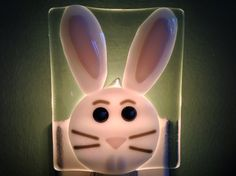 Bunny Face Fused Glass Night Light by LaGlasSea on Etsy