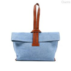 QUOTE Criss-Cross Bag -- leather n canvas (Blue denim)