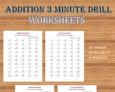Addition 5 minute drill H Math Worksheets with answers)/pdf/ Year Grade addition worksheets/ kindergarten Math Workbook, Printable Preschool Worksheets, 1st Grade Worksheets, Kindergarten Math Worksheets, 1st Grade Math, Grade 1, Mastering Math, Addition And Subtraction Worksheets, Printable Alphabet Letters