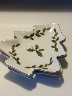 2 Geo Z Lefton China Holly Berry Christmas Candy by Visualaromas