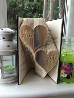 """Book folding pattern for """"You Me in hearts"""" +FREE TUTORIAL"""