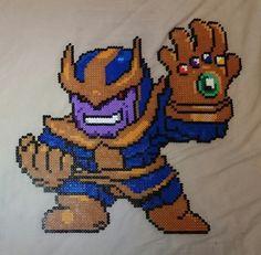 Perler Bead Marvel Thanos Wall Decoration by CGPerlen Motifs Perler, Perler Patterns, Pixel Art Anime, Pixel Art Minecraft, Geek Perler, Image Pixel Art, Pix Art, Hama Beads Design, Peler Beads