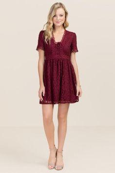 Megan Lace Up Dress by Francesca's