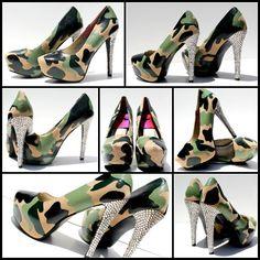 Camo-Heels mit Swarovski Kristall Ferse oder Camouflage-Plattform Pumpen Hand…