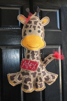 Giraffe burlap Baby door hanger  hospital  wreath by Cutipiethis on etsy