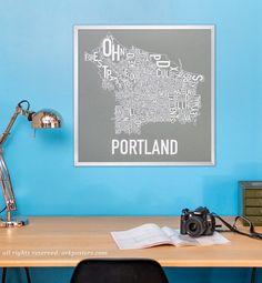 Portland, Oregon Neighborhood Map Poster or Print, Original Artist of Type City Neighborhood Map Designs, Typography Map Art