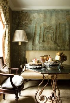 purple-walls-dark-painted-interior-traditional-decor-fireplace-french-chair-eclectic-home-ideas « eclectic revisited by Maureen Bower Decor, Show Home, Furniture, Interior, Home Decor, Eclectic Home, House Interior, Dining, Dining Table