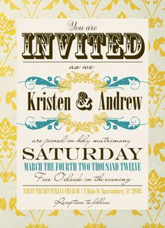 Vintage Wedding Invitation Save the Date Custom Photo Wedding Thank You Note Vintage Paper Mint Gold Pattern DIY
