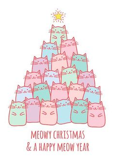 Printable Christmas Cards - Happy Meow Year Cute Cats Tree Free Printable Christmas Cards, Cat Christmas Cards, Free Printable Cards, Christmas Wishes, Free Printables, Christmas Ideas, New Year Cards Handmade, Happy New Year Cards, Bujo