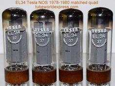 (!!!!!) (#1 EL34 Tesla Quad) EL34 Tesla Czechoslovakia NOS 1978-1980 (85/85/86.5/86.5ma)