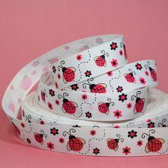 """Ruban gros-grain  imprimé """"coccinelles roses"""" fond blanc - largeur 22mm"""